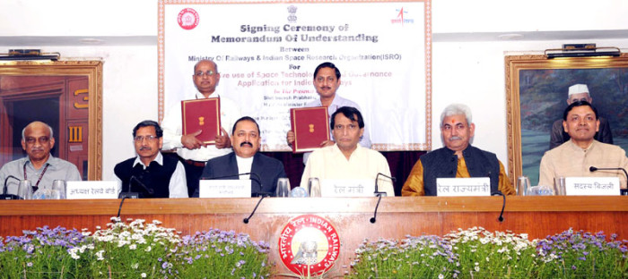 "The Union Minister for Railways, Shri Suresh Prabhakar Prabhu witnessing the signing ceremony of MoU between the Ministry of Railways and Indian Space Research Organization (ISRO) for ""Effective Use of Space Technology in Remote Sensing and Graphic Information System (GIS) based Governance Application for Indian Railways"", in New Delhi on March 17, 2016. The Minister of State for Development of North Eastern Region (I/C), Prime Minister's Office, Personnel, Public Grievances & Pensions, Department of Atomic Energy, Department of Space, Dr. Jitendra Singh, the Minister of State for Railways, Shri Manoj Sinha, the Chairman, Railway Board, Shri A.K. Mital and other dignitaries are also seen."