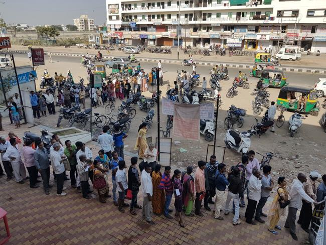Long queues outside the banks in Vadodara