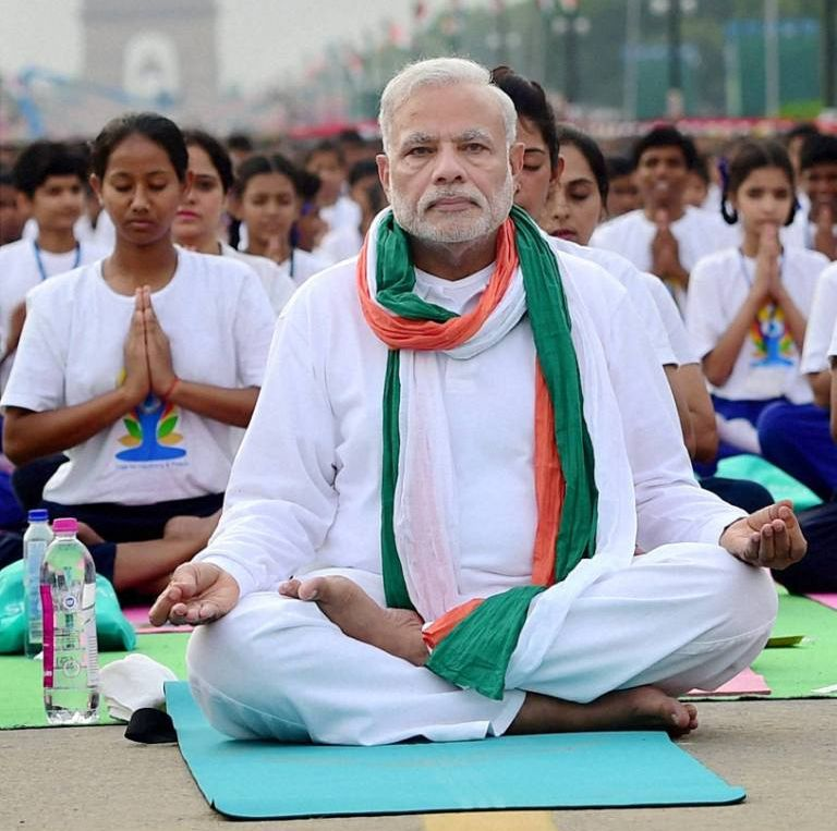 PM participates in yoga with top cops in Hyderabad