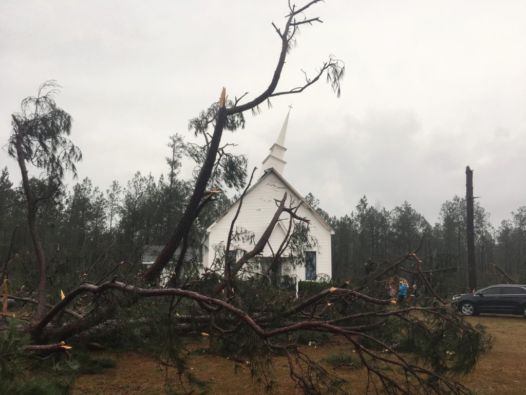 """Fallen trees sit near Zoar United Methodist Church that sustained damage to its steeple Sunday, Jan. 22, 2017, near Baxley, Georgia. The National Weather Service said Sunday that southern Georgia, northern Florida and the corner of southeastern Alabama could face """"intense and long track"""" tornadoes, scattered damaging winds and large hail. (AP Photo/Lewis Levine)"""