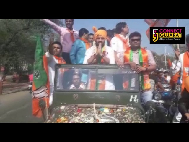 Dr Rutvij Patel, President of Bharatiya Janta Yuva Morcha arrives in Ankleshwar