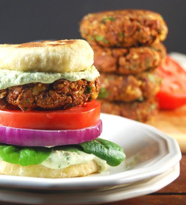 Vegan tandoori naan burger with corainder raita