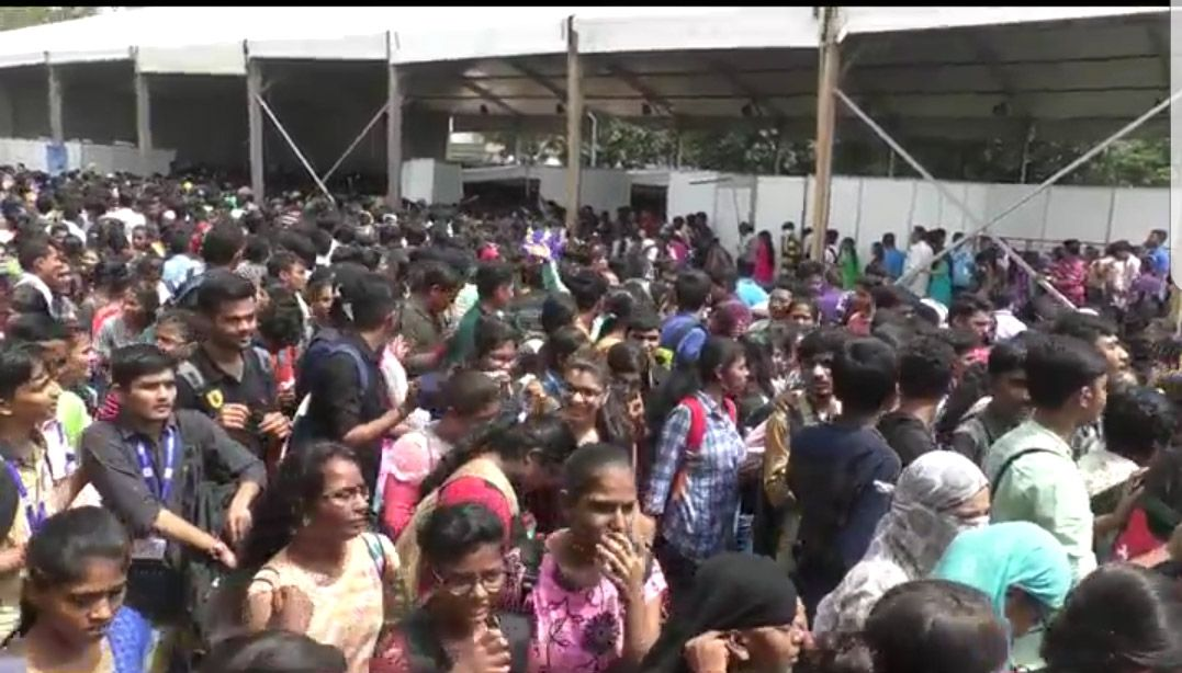 Chaos at the venue of e Tab distribution programme