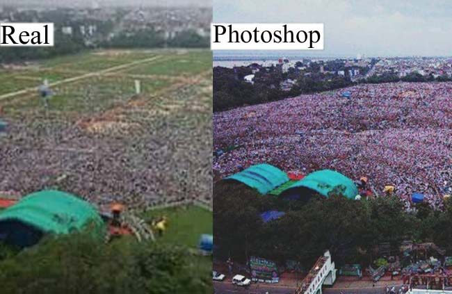 Twitter users took on Lalu on Photoshop photo of Rally