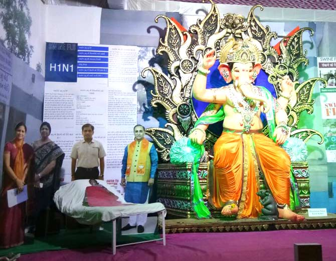 Swine Flu decorations in Ganesh pandals in Vadodara