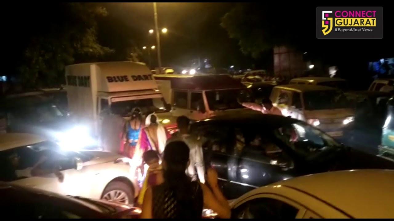 Massive traffic jam near United Way Garba venue