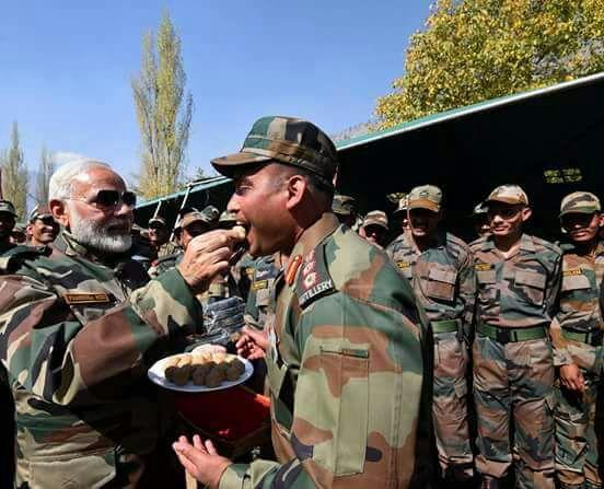 Modi celebrates Diwali at LoC in J&K's