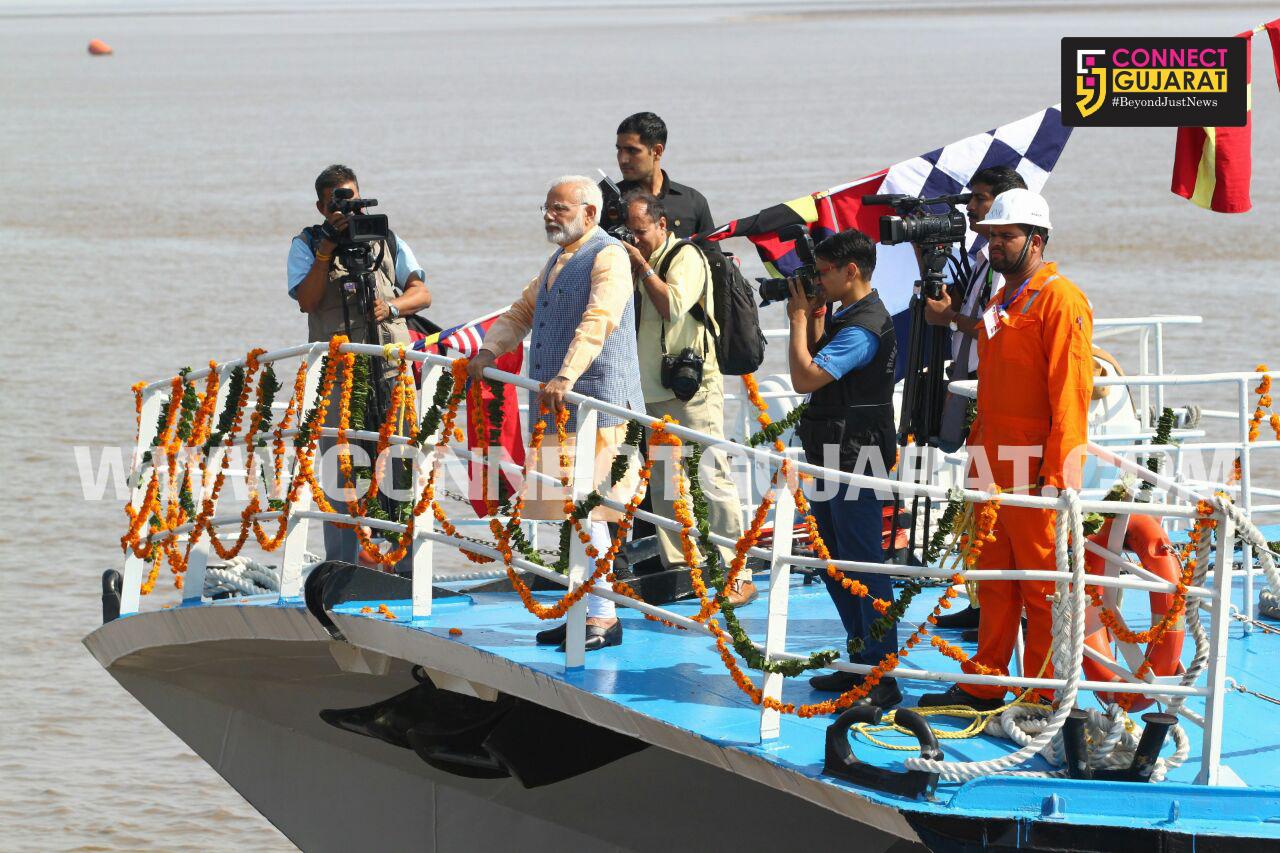 PM Modi addressing public meeting at Dahej, Bharuch