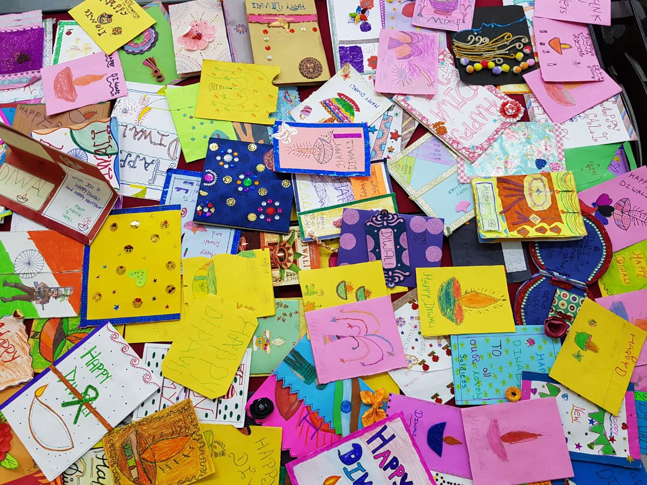 Handmade Diwali cards for soldiers