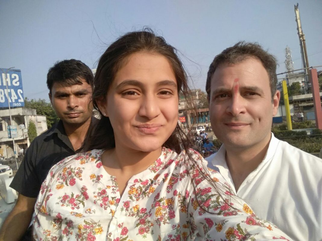 With Rahul Gandhi After He Gives Flying Kiss To Her   Connect Gujarat