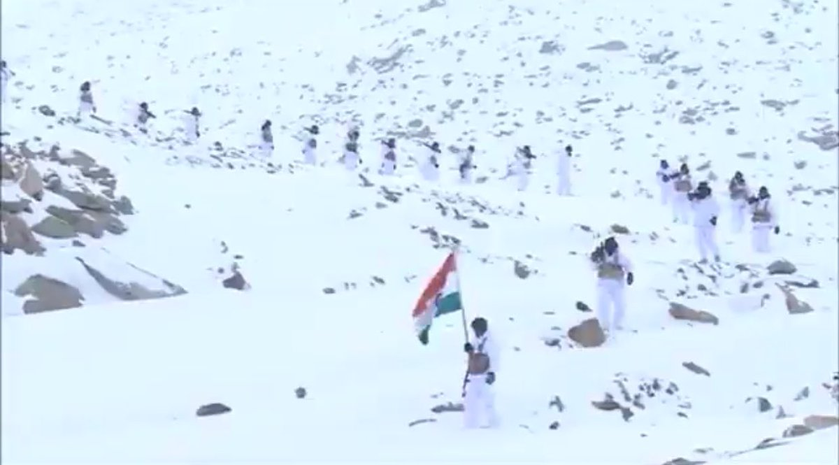 Himveers of ITBP unfurled Tricolour in Himalayas in -30 degrees at 18K ft.