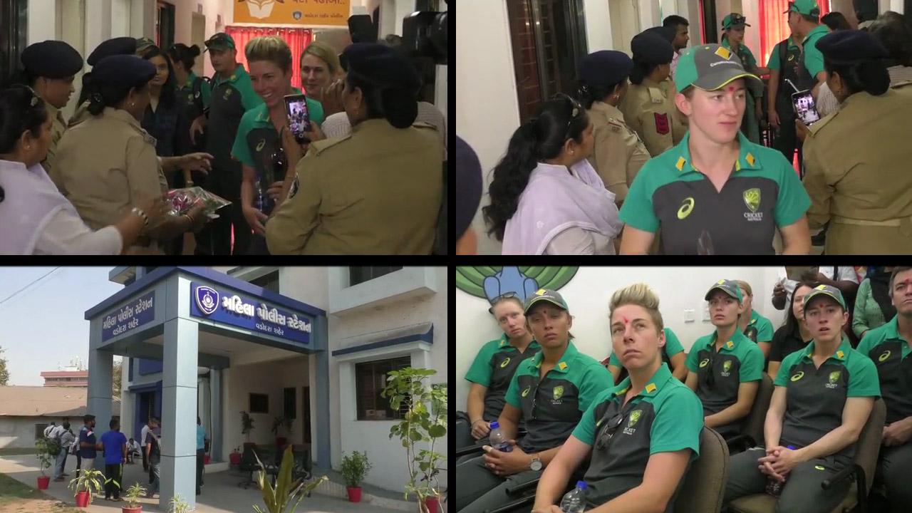 Australian Women team visits Mahila Police station in Vadodara