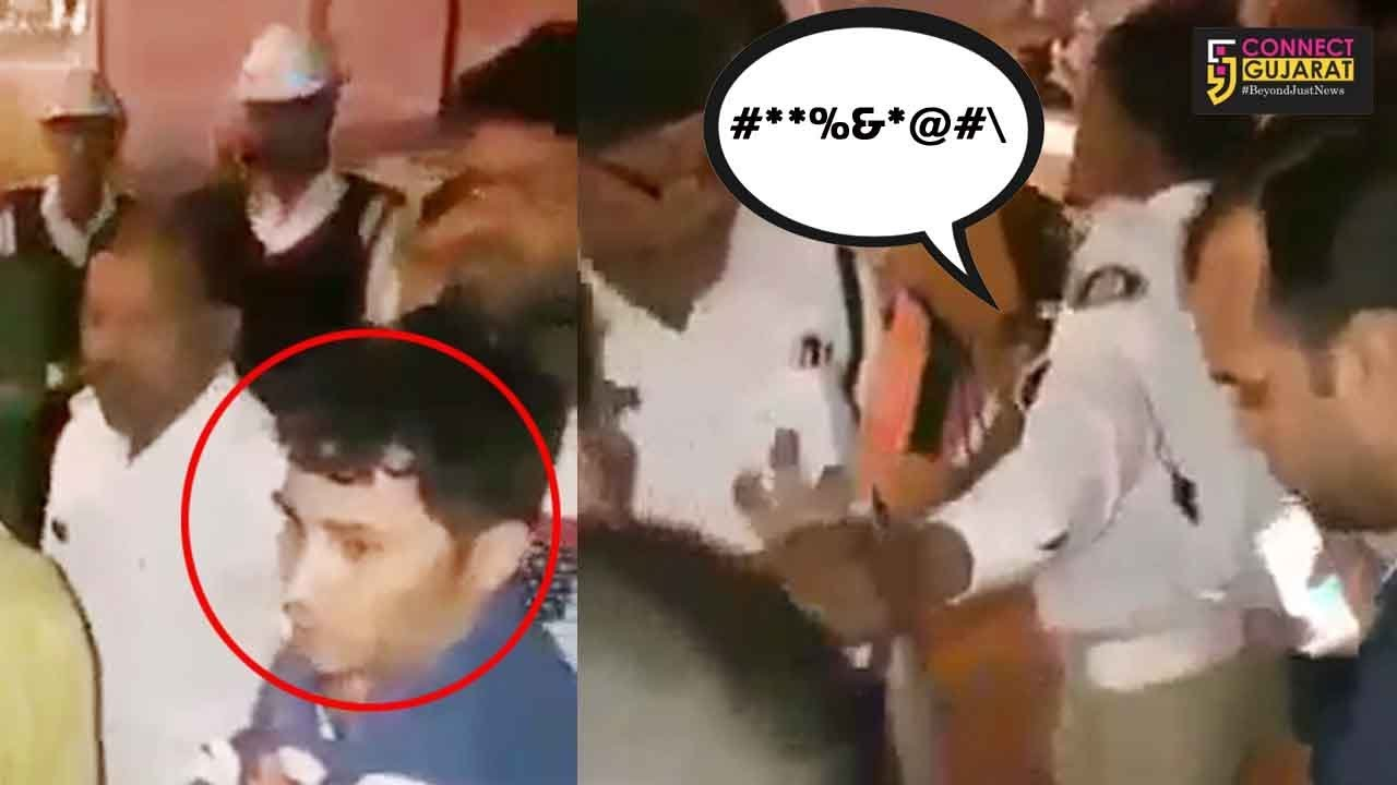 Viral video of fight between car driver and traffic police in Vadodara