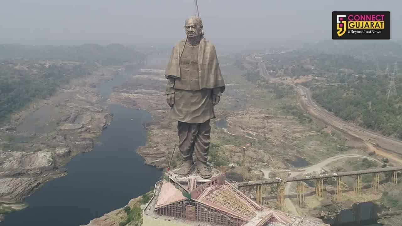 watch statue of unity from the eyes of drone