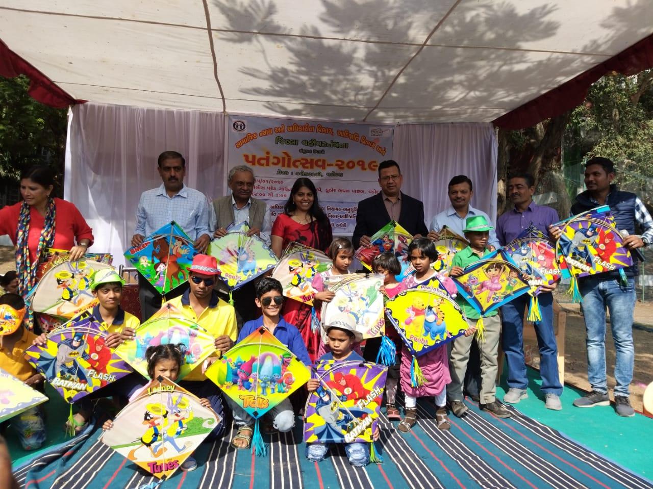 Hundreds of deprived children enjoyed kite flying in Vadodara