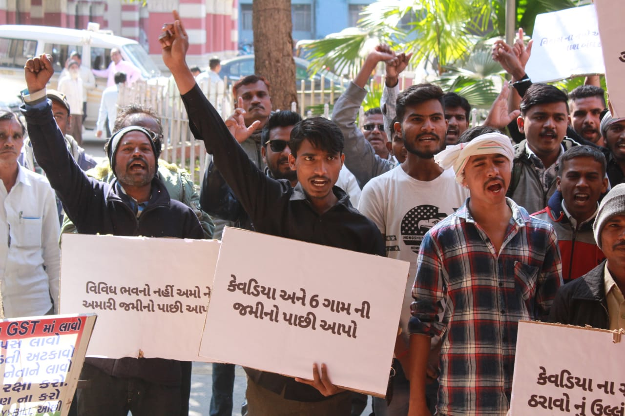 Villagers from Kevadiya and nearby villages protest against land acquisition