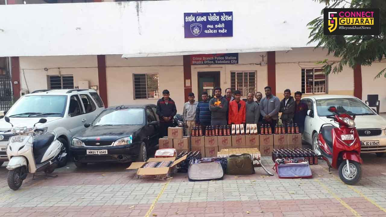 Vadodara crime branch arrested 12 accused with IMFL worth lakhs