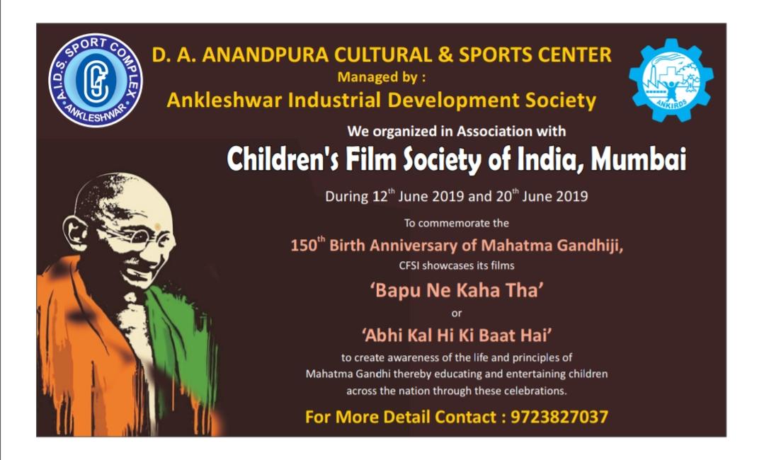 Film fest to commemorate 150th Birth Anniversary of Mahatma Gandhi at Ankleshwar