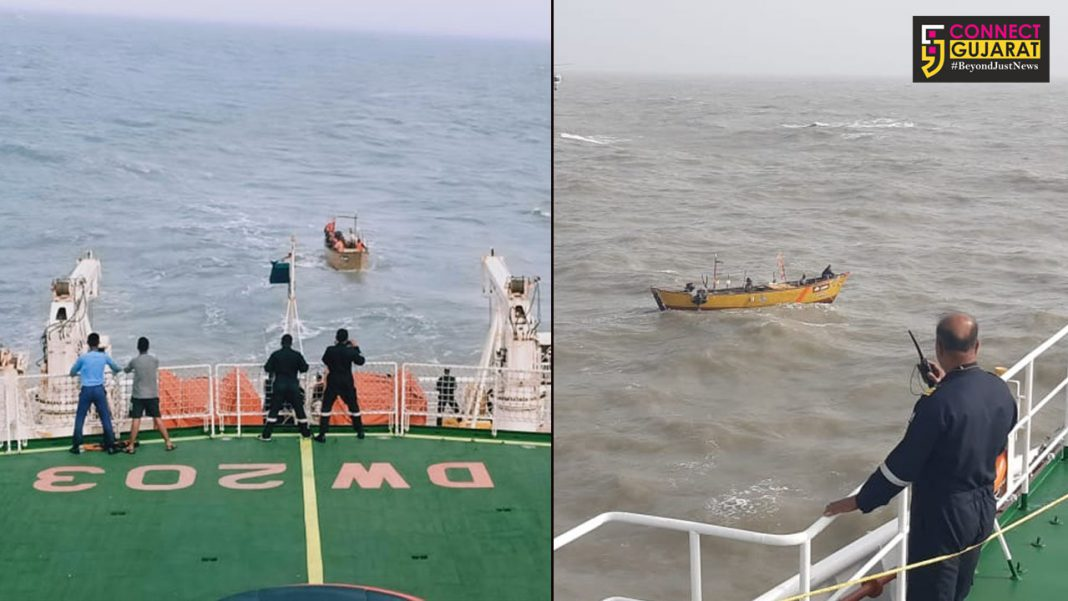 Indian Coast Guard in action during inclement weather off Porbandar