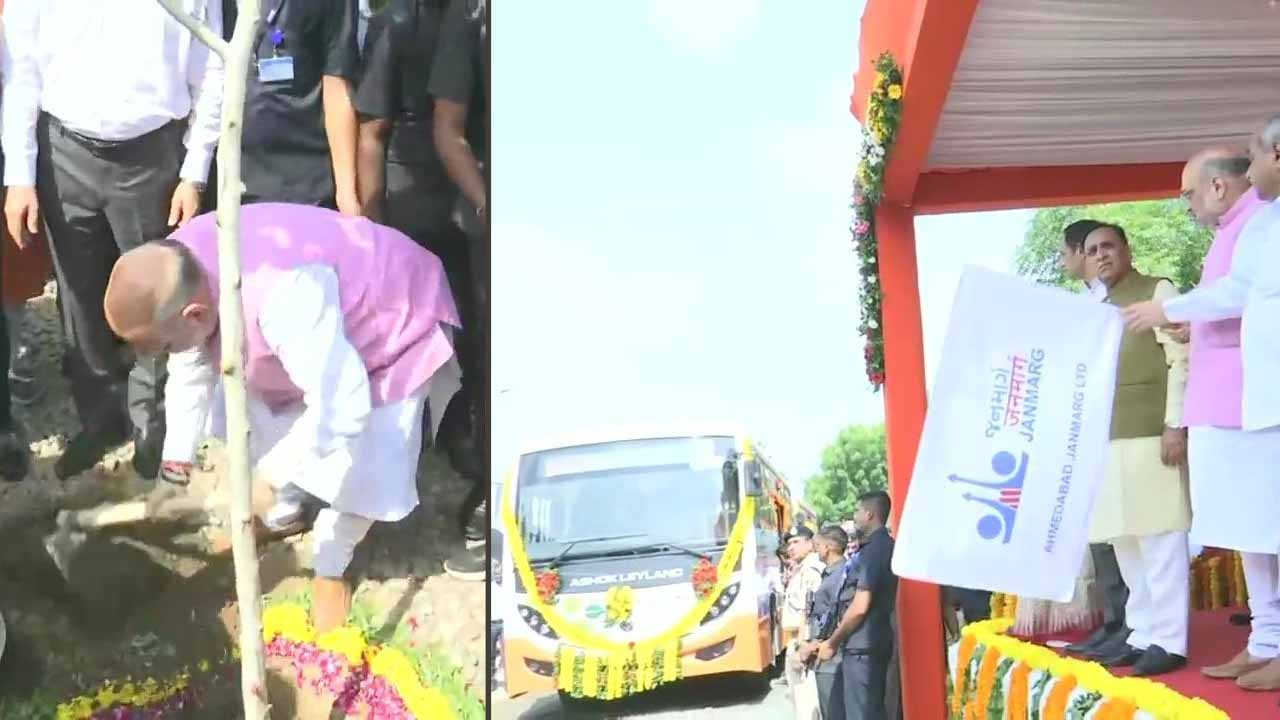 Home Minister Amit Shah flags off battery-operated eco-friendly buses in Ahmedabad, takes part in tree plantation drive