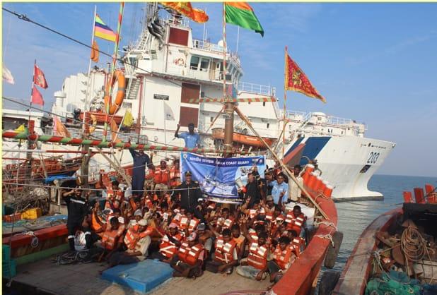 Indian Coast Guard conducts training of 171 fishermen at ICG Ship