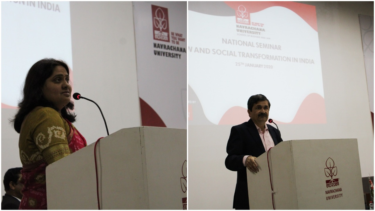 National Seminar on Law and Social Transformation at Navrachana University in Vadodara