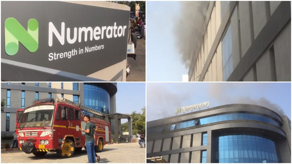 Massive fire was reported inside Numerator company office situated Vadodara