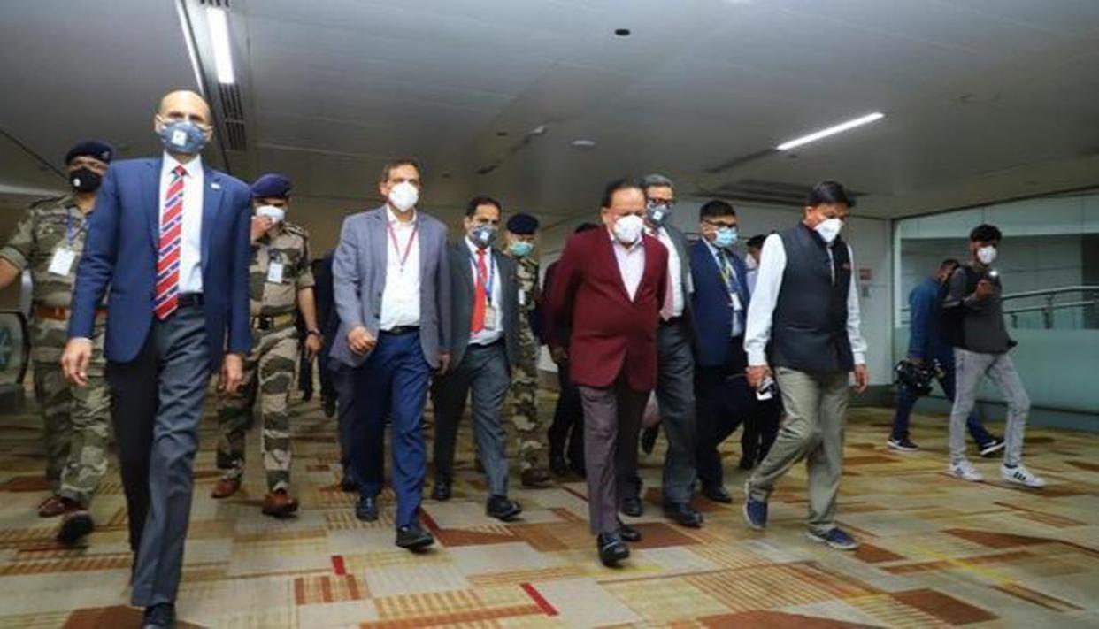 Union Health Minister visits Indira Gandhi International Airport in Delhi