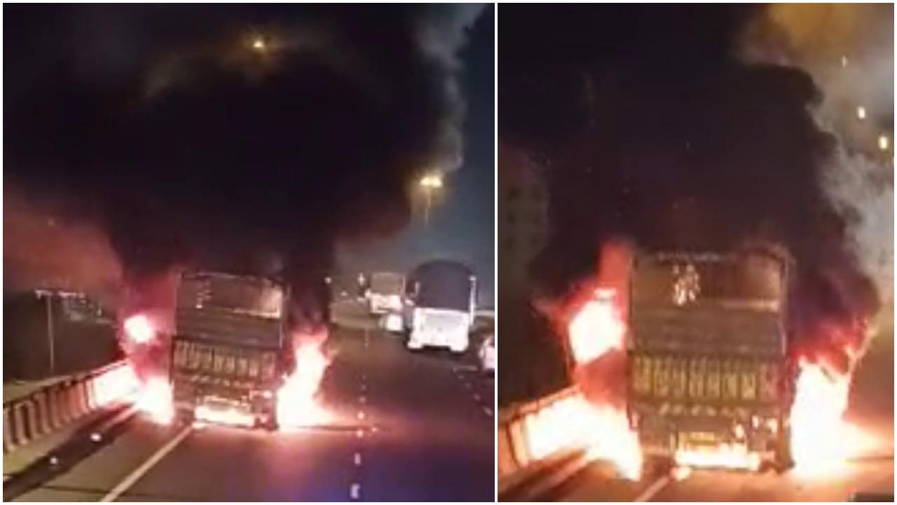 Truck caught fire at highway near Vadodara