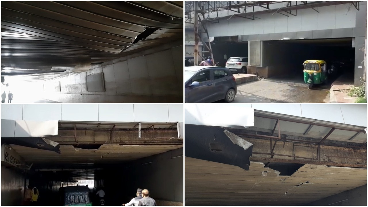 With cracks in ceiling Vadodara railway station underpass gives motorists serious danger to life