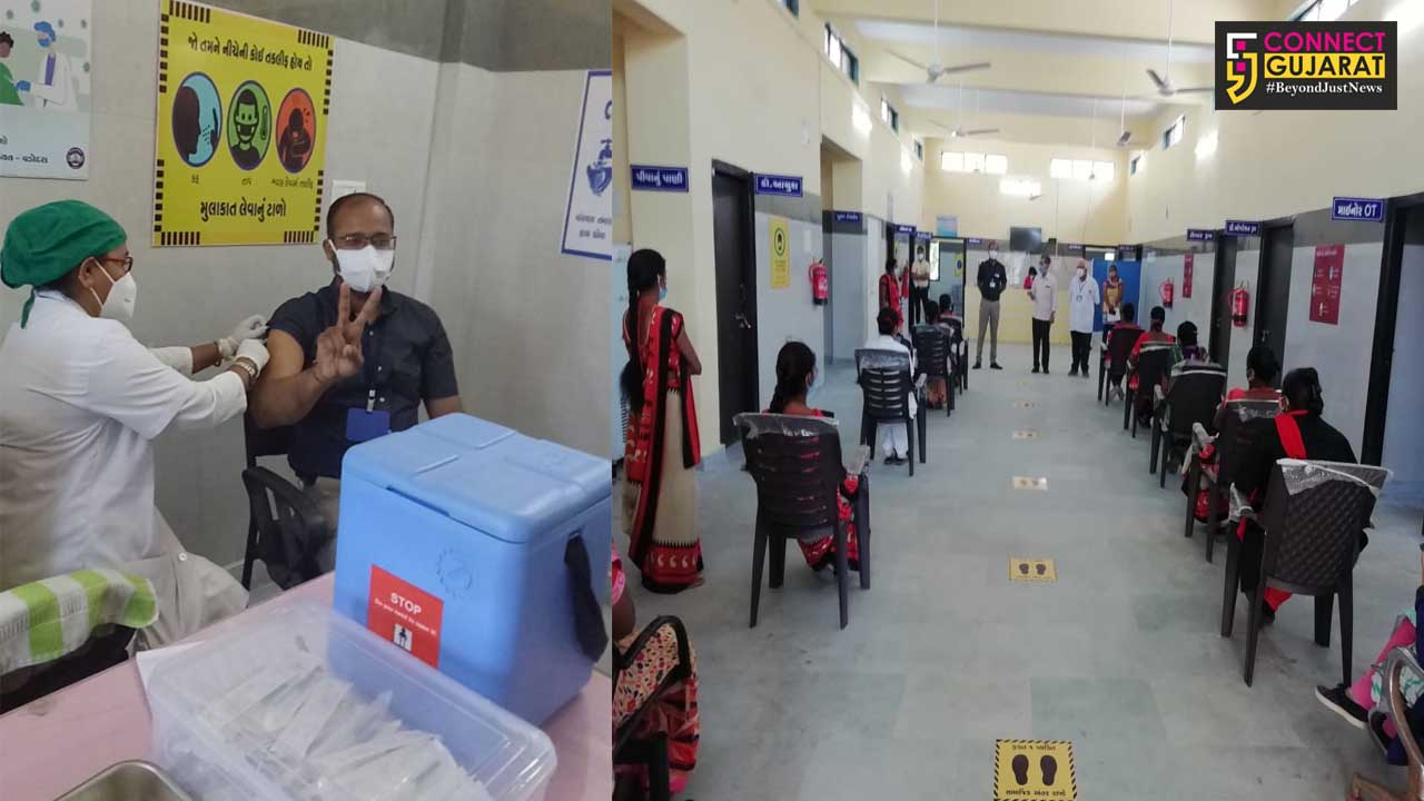 About 122 percent vaccination at four centers of the district on fourth day
