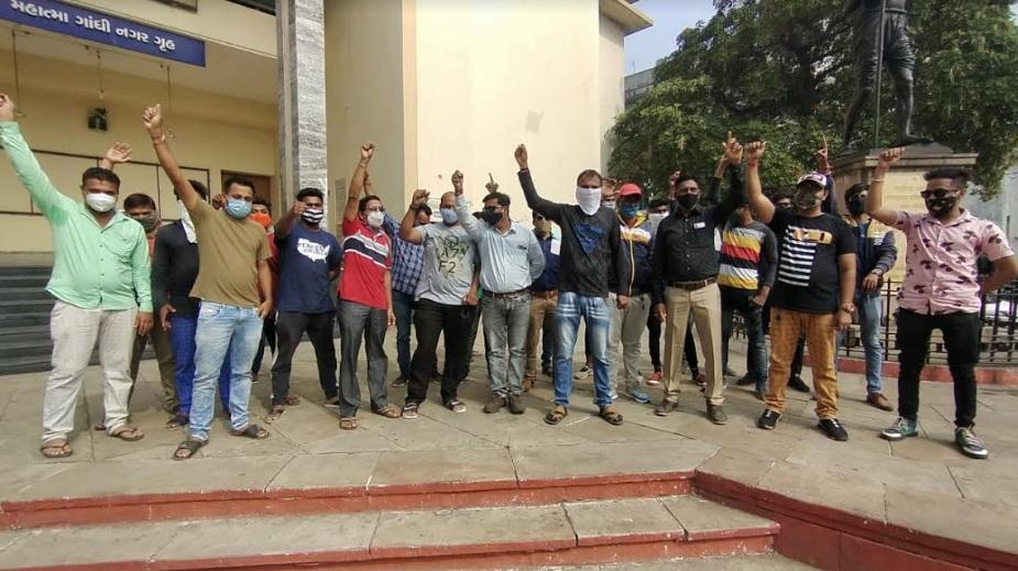DJ Sound System and Light Operators staged protest at Gandhinagar Gruh