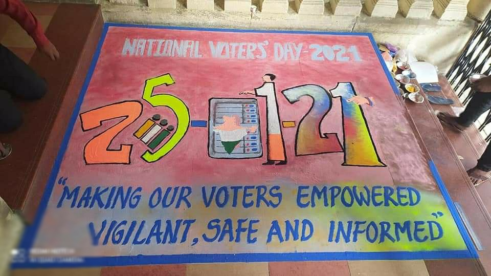Celebration of 11th National Voters' Day with exhibition of Voter Awareness Rangoli