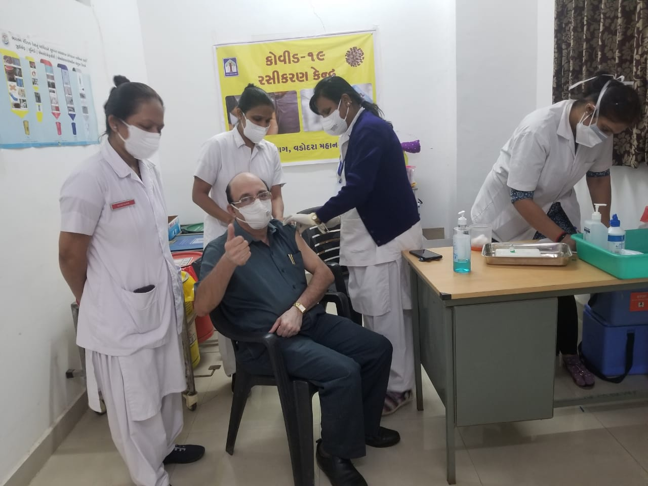 Dr. Minu Patel vaccinated and concluded the first dose at Gotri Hospital