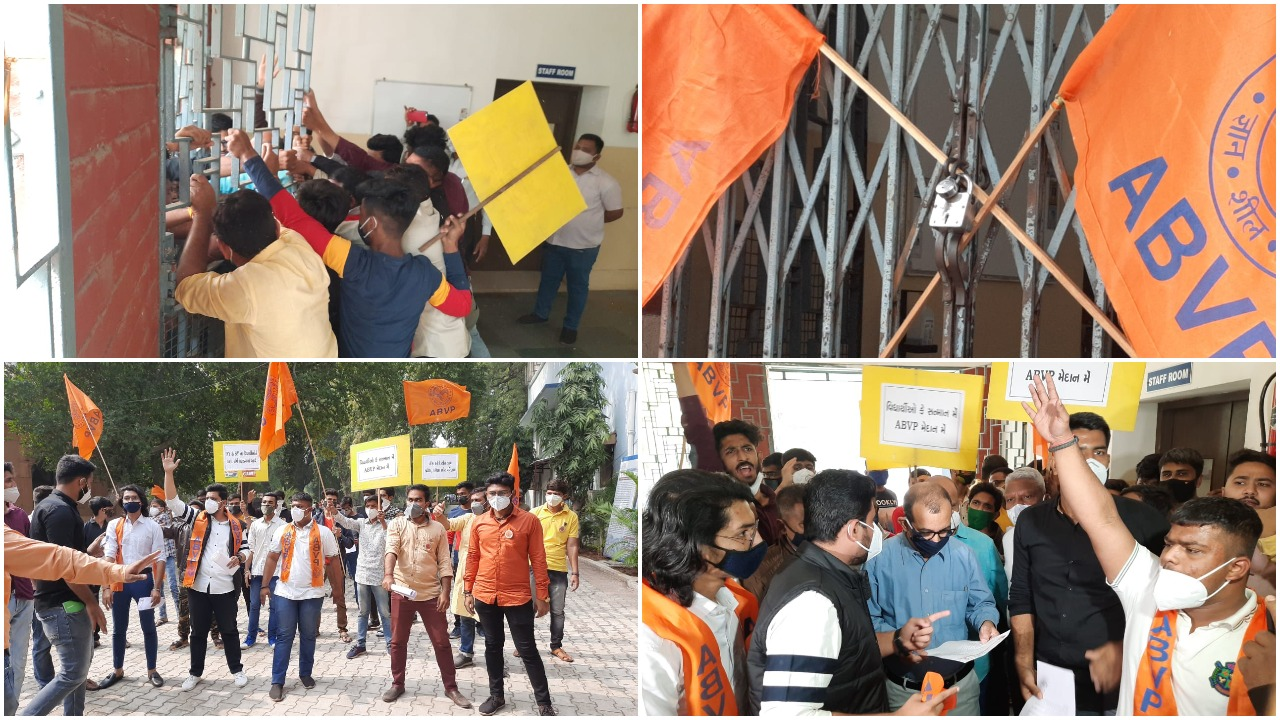 ABVP locked Commerce faculty demanding 50% reduction of course for students