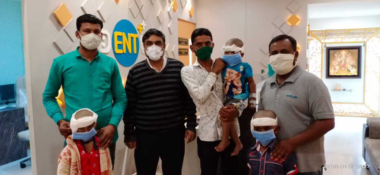Cochlear implant surgery performed at four children in Singhania Hospital in Vadodara with strict Covid measures