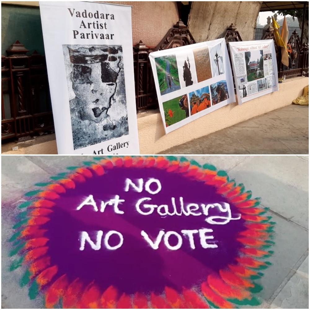 Unique protest by artists in Vadodara