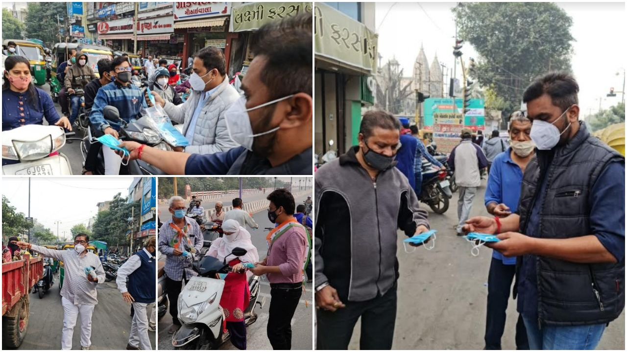 Sanjeev Medical Trust and Vadodara City Congress Committee distributes masks in various areas of the city