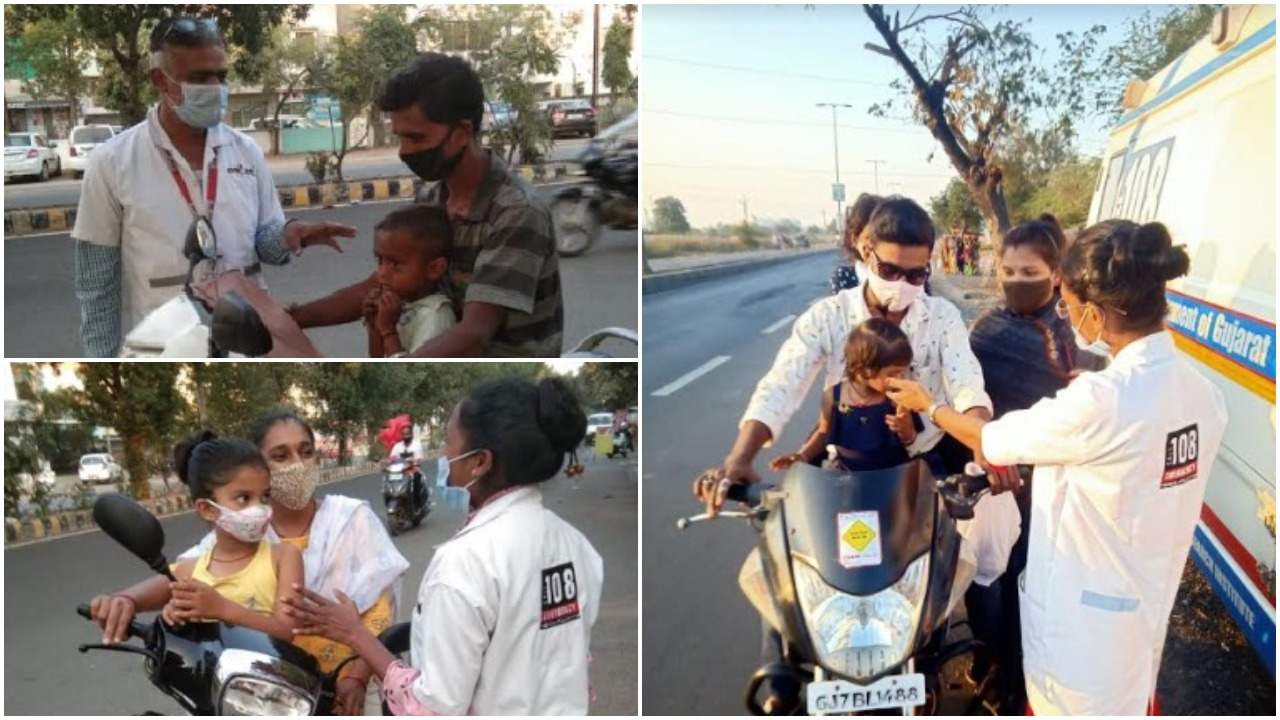 108 emergency teams aware people of Vadodara to avoid moving out with children during kite flying