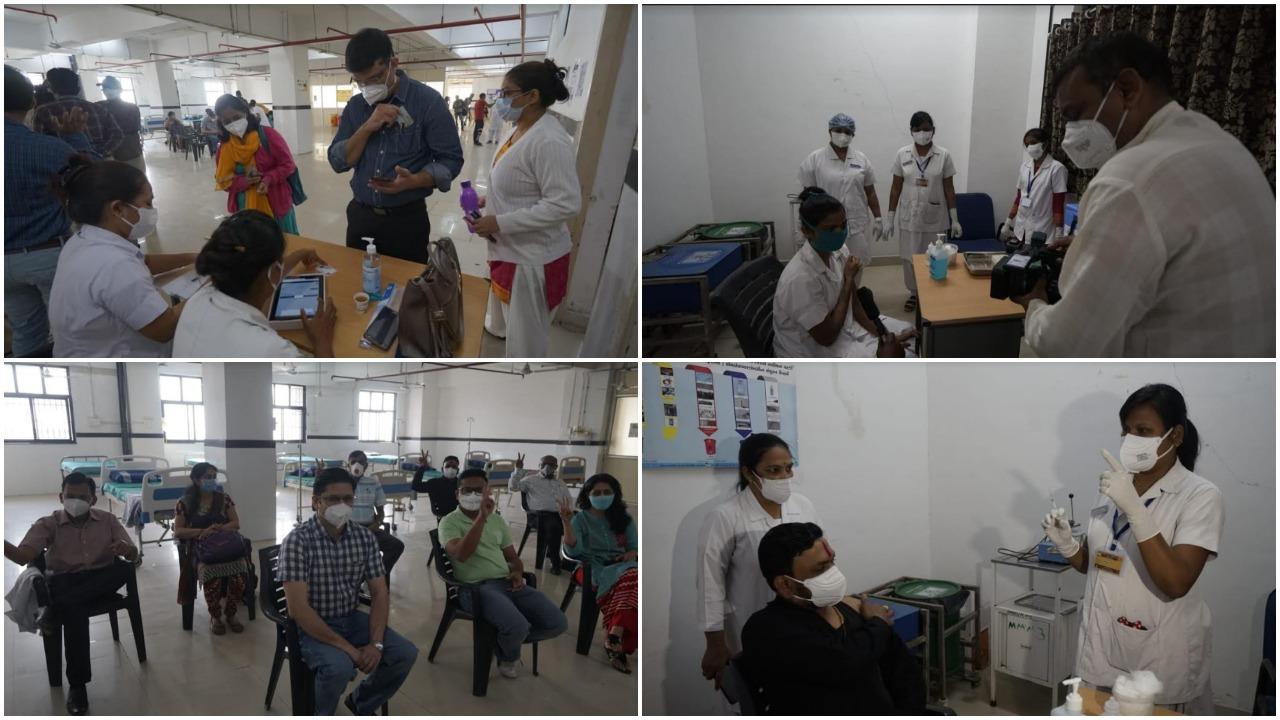 Vaccination of Corona warriors at Gotri Hospital on Tuesday