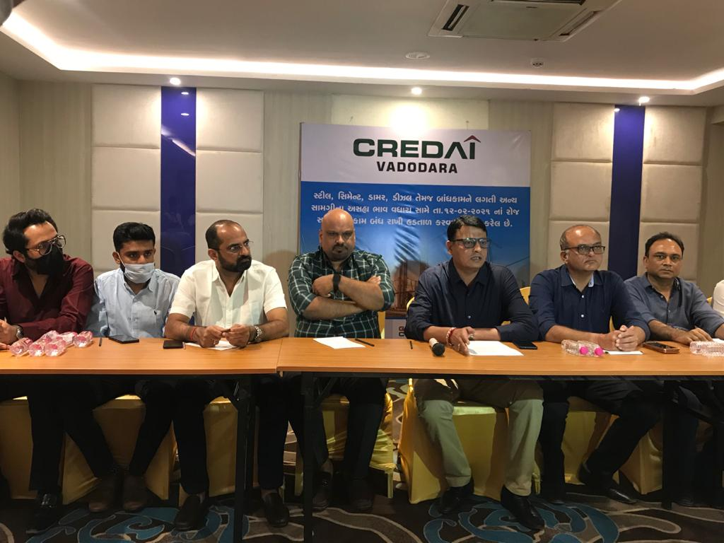 Vadodara Credai and other associations called for one day strike in protest against rising prices of construction materials