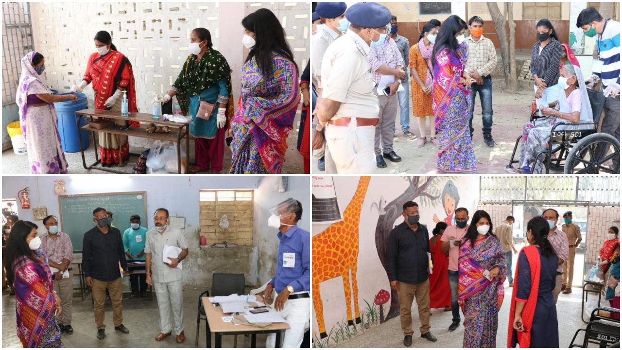 Vadodara District Election Officer Shalini Agarwal visited polling booths in villages of Vadodara taluka