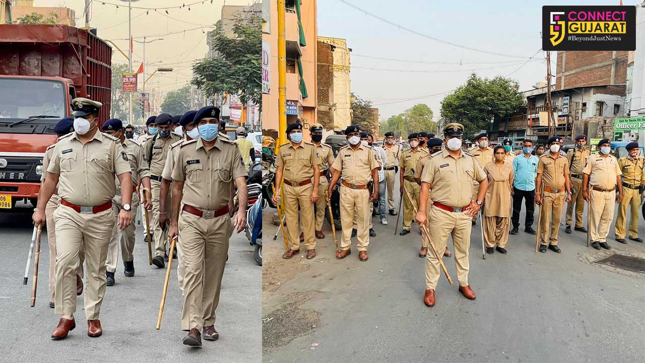 Foot patrolling by Vadodara police ahead of Holi festival and ensure implementation of Covid 19 guidelines