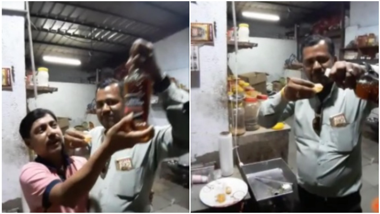 Video of guests enjoying a drink in panipuri in birthday celebration went viral in social media