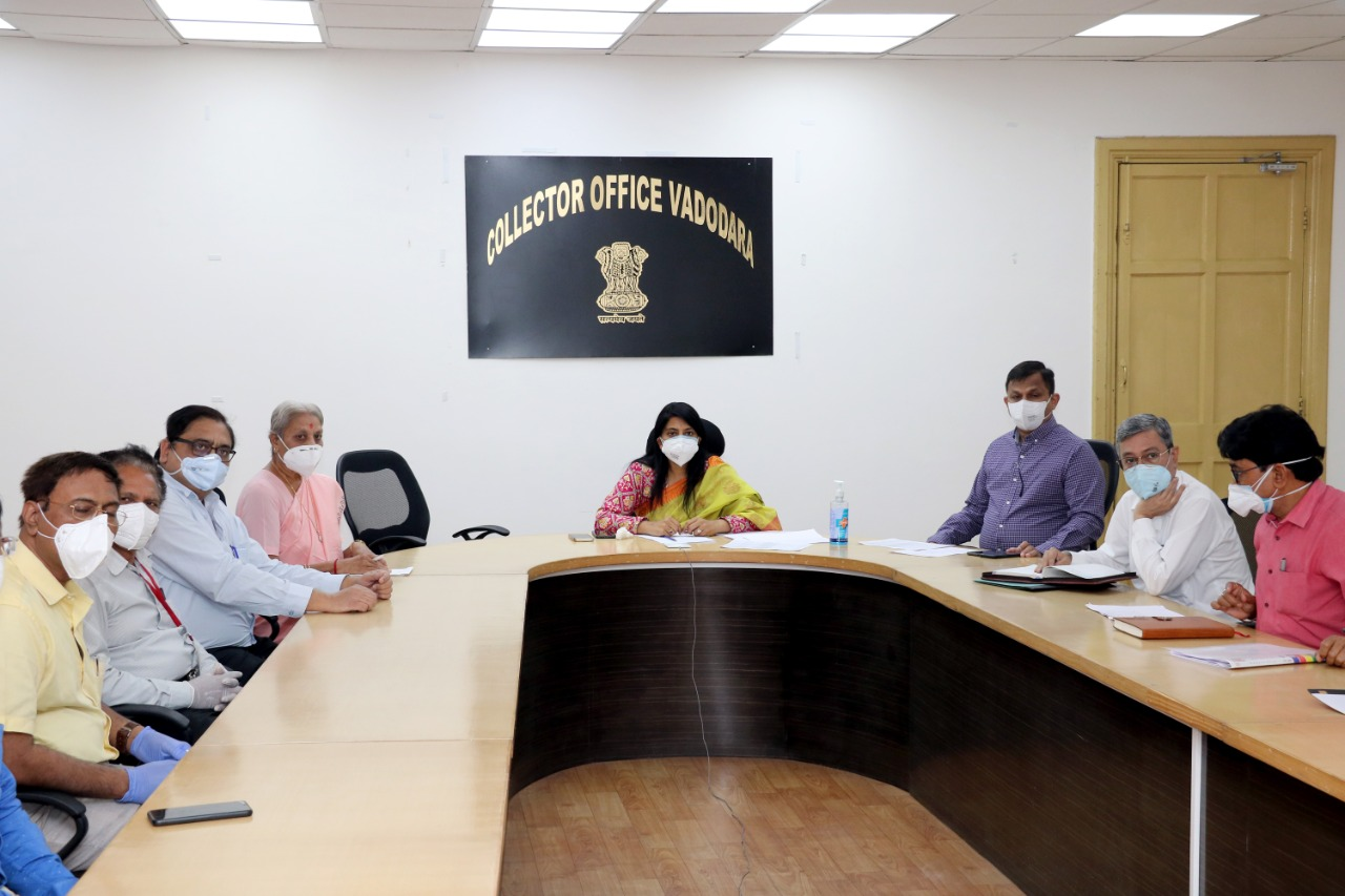 District Collector and IMA Vadodara office bearers interact with CM through video conference