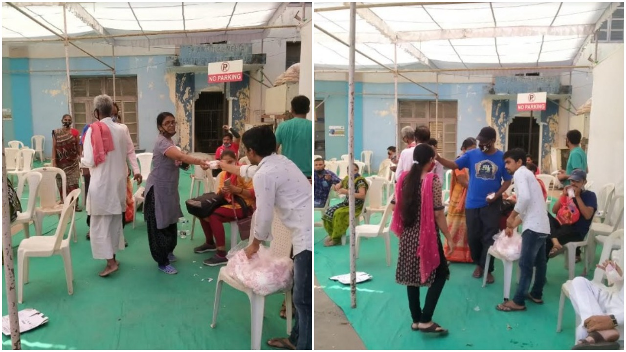 Sitting facility for relatives of patients outside Corona ward in SSG Vadodara