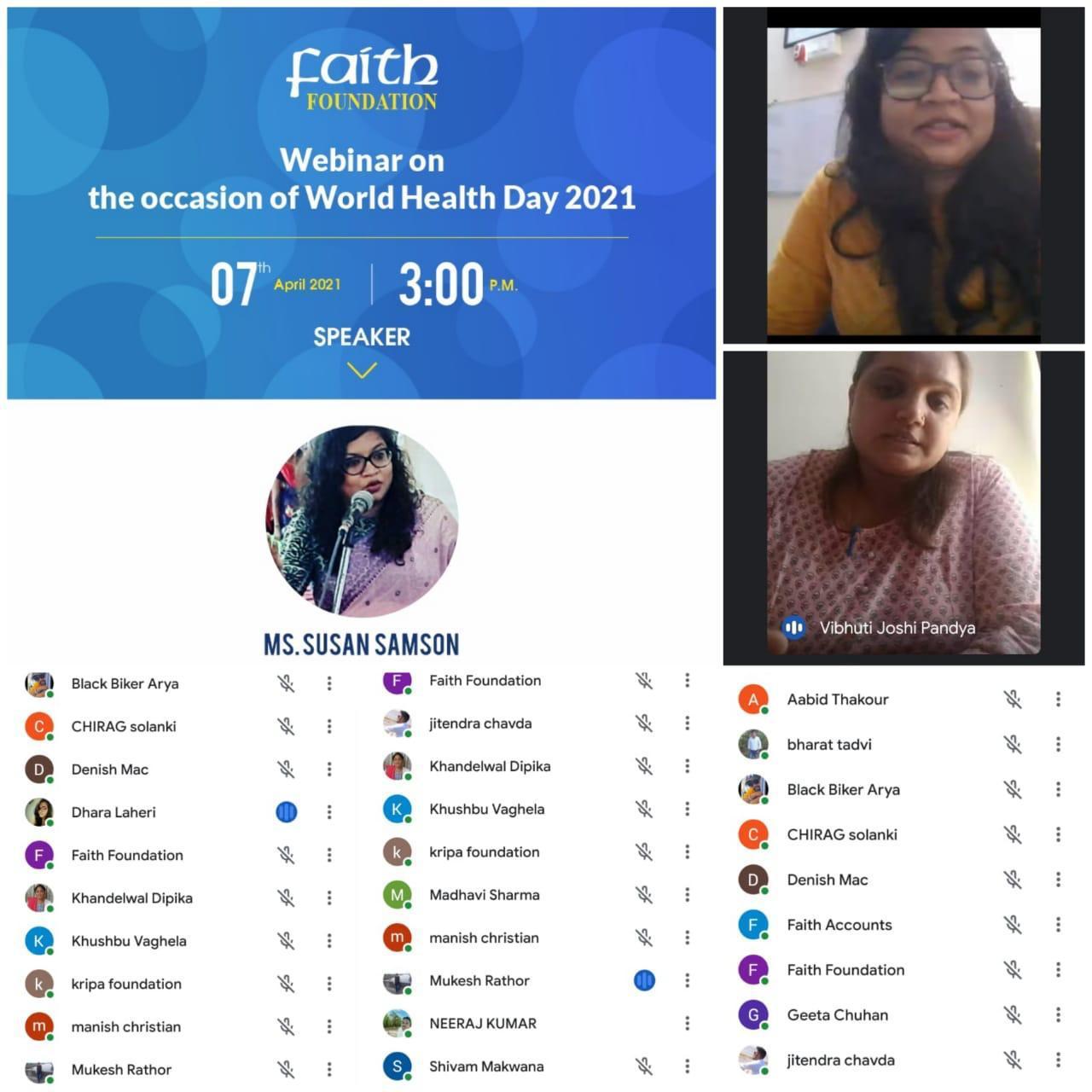 Webinar on World Health Day by Faith Foundation