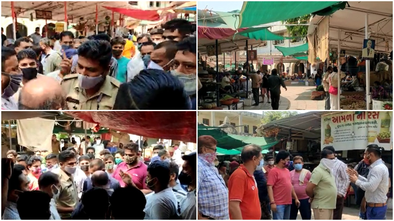 Heated arguments at Khanderao vegetable market after police imposed fine for not wearing masks