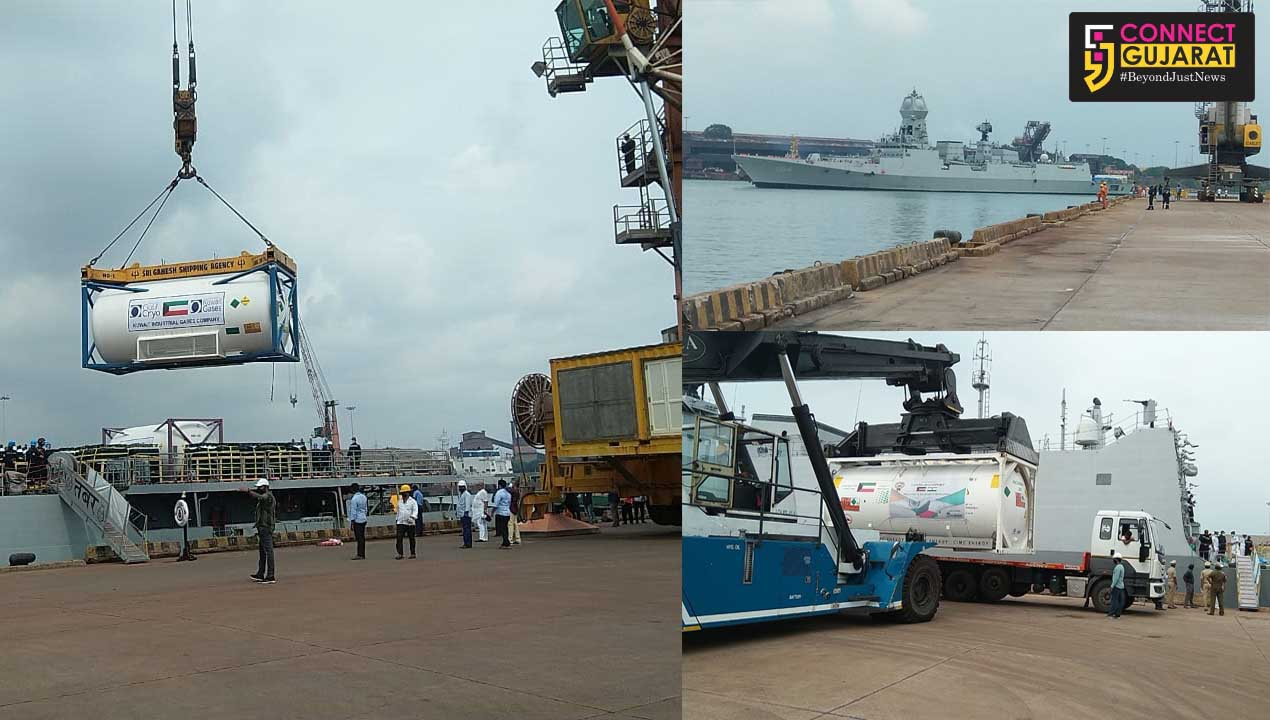 Indian Naval ships arrives at New Mangalore port carrying critical medical stores