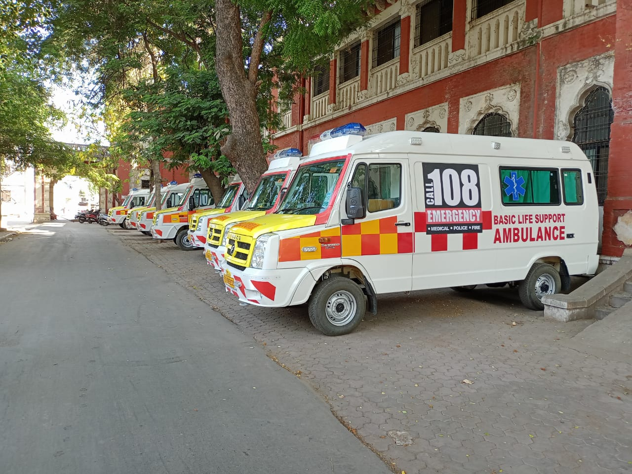 Wheels of 108 ambulances kept moving in April to shift patients to the hospital in Vadodara